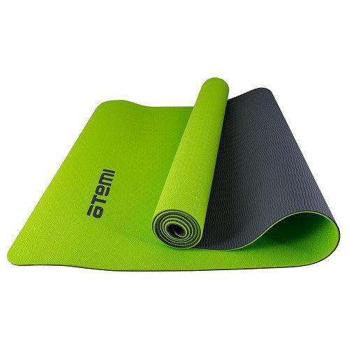 Гимнастический коврик для йоги, фитнеса Atemi AYM0321 TRE 173х61х0,4 см grey/green