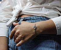 Браслет Рука Фатимы (Хамса) из серебра с тремя бриллиантами, фото 1