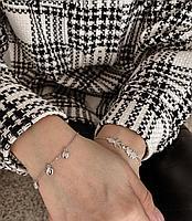 Браслет из серебра с тремя бриллиантами, фото 1