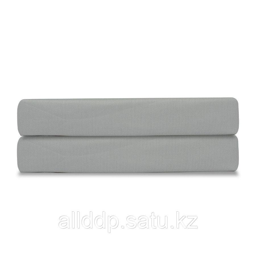 Простыня на резинке из сатина светло-серого цвета из коллекции Essential, 160х200х28 см