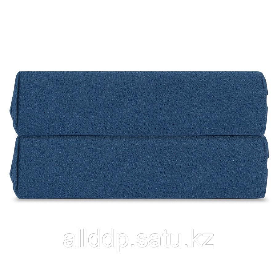 Простыня на резинке темно-синего цвета из органического стираного хлопка из коллекции Essential, 160х200 см