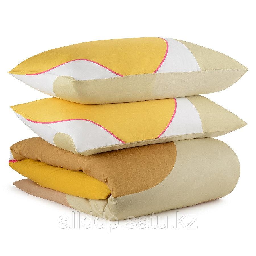 Комплект постельного белья двуспальный из сатина горчичного цвета с авторским принтом из коллекции Freak Fruit