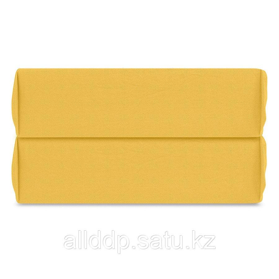 Простыня на резинке горчичного цвета из органического стираного хлопка из коллекции Essential, 160х200 см