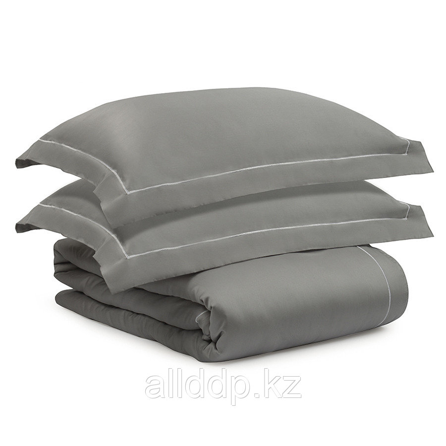Комплект постельного белья без простыни из египетского хлопка Essential, серый, полутороспальный