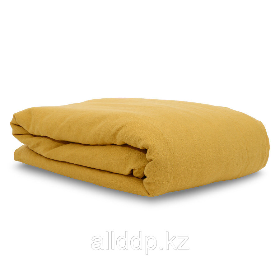 Пододеяльник изо льна горчичного цвета Essential, 200х200 см