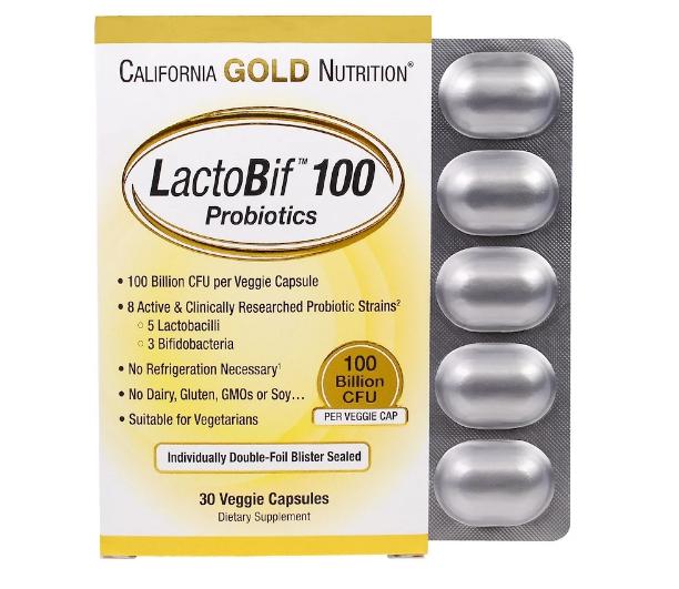 California Gold Nutrition, LactoBif, пробиотики, 100 млрд КОЕ, 30 растительных капсул