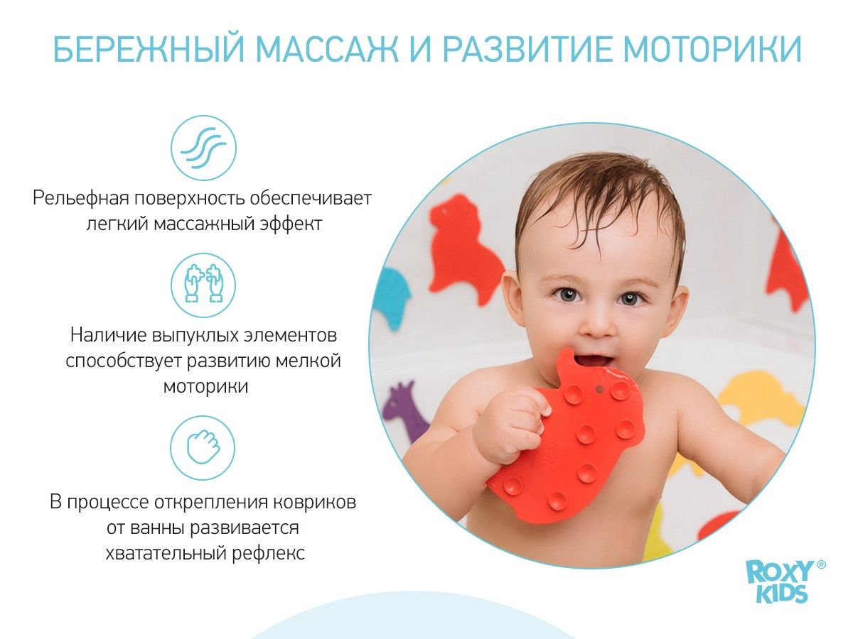 Антискользящие мини-коврики ROXY-KIDS для ванны. Серия SAFARI. Цвета в ассортименте. 10 шт. - фото 5