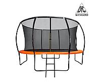 Батут DFC KENGOO II 14ft внутр.сетка, лестница, оранж/черн (427см)(два короба)