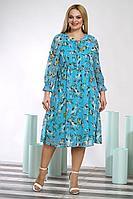 Женское осеннее шифоновое голубое большого размера платье Alani Collection 1352.1 56р.
