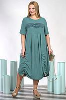Женское летнее зеленое большого размера платье Alani Collection 1392 54р.