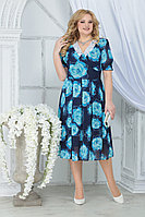 Женское летнее шифоновое большого размера платье Ninele 7318 бирюзовы_розы 52р.