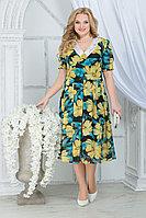 Женское летнее шифоновое большого размера платье Ninele 7318 желтые_ромашки 52р.