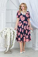 Женское летнее шифоновое большого размера платье Ninele 7318 красные розы 52р.