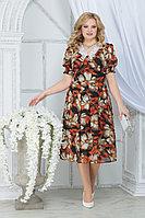 Женское летнее шифоновое большого размера платье Ninele 7318 красные_ромашки 52р.