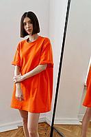 Женское осеннее трикотажное оранжевое спортивное платье Beauty Style 3354 42р.