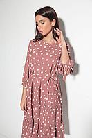 Женское осеннее розовое нарядное платье Michel chic 994 розовый-горох 46р.