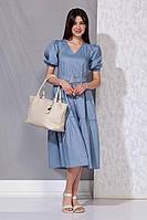 Женское летнее голубое платье Beautiful&Free 4053 голубой 42р.