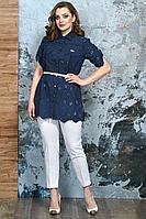 Женский летний кружевной нарядный большого размера брючный комплект Белтрикотаж 4339 синий 50р.
