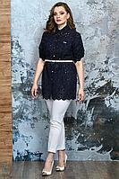 Женский летний кружевной нарядный большого размера брючный комплект Белтрикотаж 4339 темно-синий 50р.