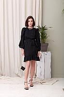 Женское осеннее хлопковое черное нарядное платье JRSy 2022 42р.