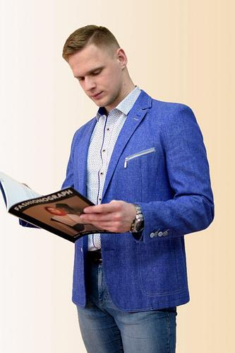 Мужская осенняя льняная синяя деловая пиджак DOMINION 4434D 8C37-P49 182 синий 44р.