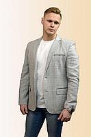 Мужская осенняя льняная серая деловая большого размера пиджак DOMINION 4454DK 9C62-P49 182 светло-серый 46р.