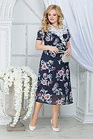 Женское летнее шифоновое большого размера платье Ninele 7319 синий_пионы 52р.