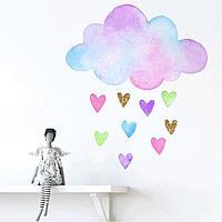 """Наклейка пластик интерьерная цветная """"Облачко с дождём из сердечек"""" 40х39 см"""