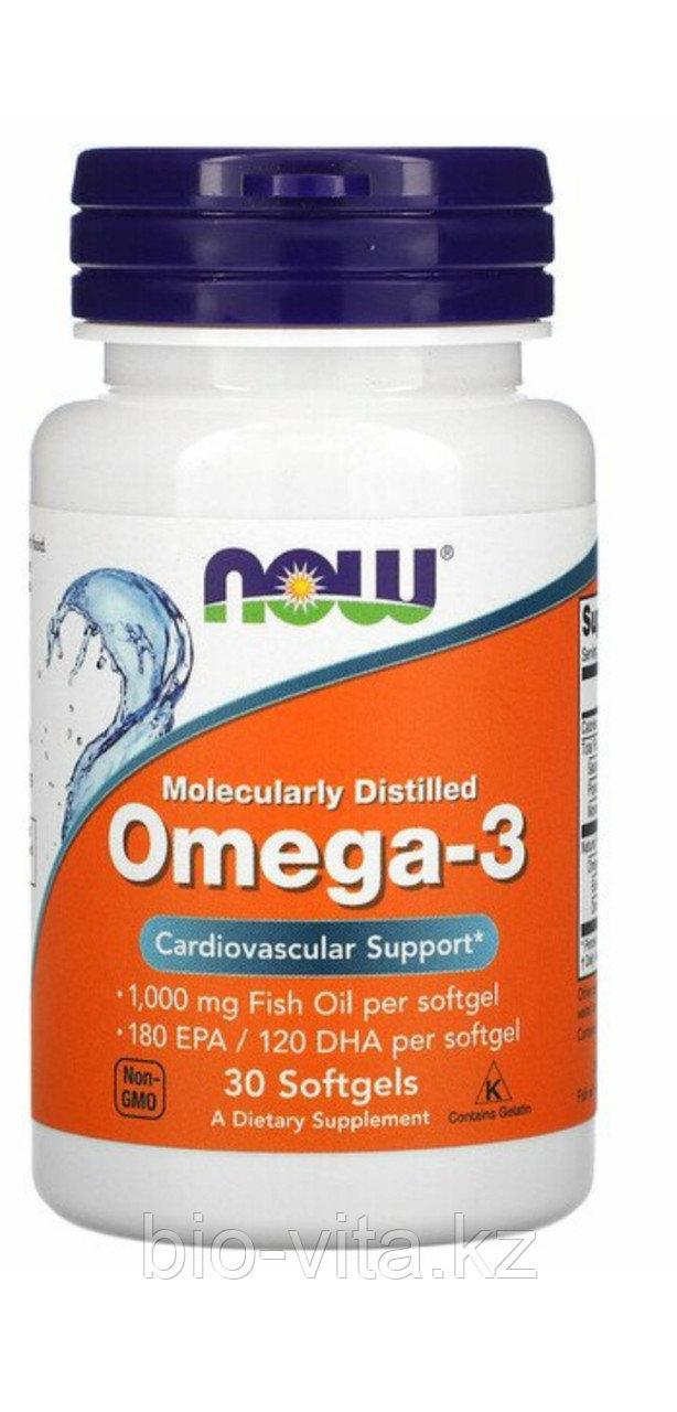 Омега 3. Omega 3 Рыбий жир. 30 капсул. Now foods.