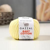 Пряжа 'Baby Cotton' 60 хлопок, 40 полиакрил 165м/50гр (3413 светло-желтый) (комплект из 5 шт.)