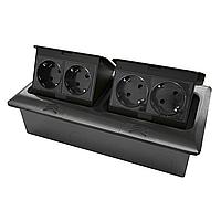 Shelbi Напольный/настольный лючок на 2х4 модуля, металл, чёрный