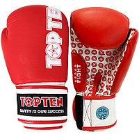 Боксерские перчатки кожаные 10-OZ Top ten Wako красные с надписью
