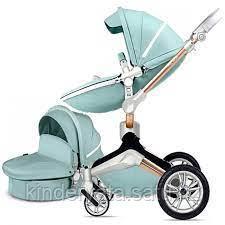 Коляска Hot Mom F23 2в1 голубая эко-кожа
