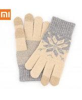 Xiaomi Mi Gloves, перчатки для сенсорных экранов, серо-бежевые оригинал. Арт 5028