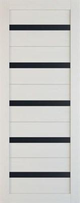 Полотно ЛЕСКОМ дверное Экшпон Техно-5 белый софт стекло черное 80