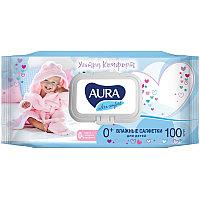 """Салфетки влажные Aura """"Ultra comfort"""", 100шт., детские, с алоэ, очищающие, без спирта, клапан"""