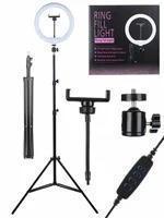 Лампа для селфи круглая, с держателем для смартфона, со штативом, диаметр лампы - 26 см