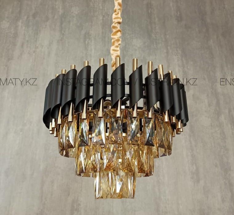 Люстра американского стиля 40см золото+черный матированный