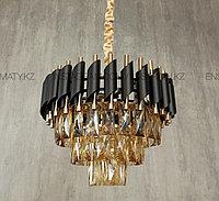 Люстра американского стиля 40см золото+черный матированный, фото 1