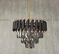 Люстра американского стиля 40см тонированный+золото+черный матированный, фото 1