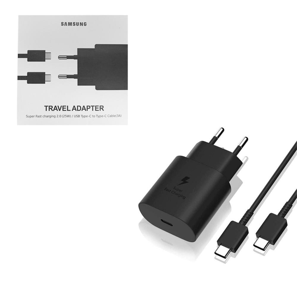 Сетевое зарядное устройство Samsung + кабель (Type-C to Type-C) (25W) Original , Black