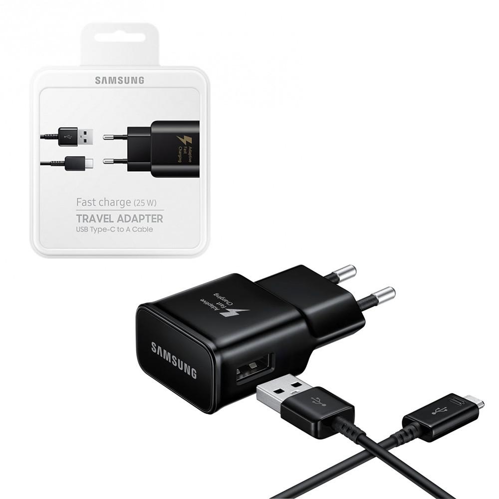 Сетевое зарядное устройство Samsung + кабель (USB Type-C)  (5V-2A 9V-1.67A) (15W) Original, Black
