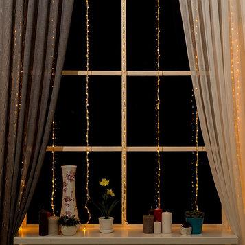 """Гирлянда """"Водопад"""" 2 х 1.5 м , IP20, прозрачная нить, 400 LED, свечение жёлтое, 8 режимов, 220 В"""