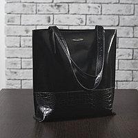 Сумка женская, отдел на молнии, наружный карман, гладкий шик/кайман, цвет чёрный