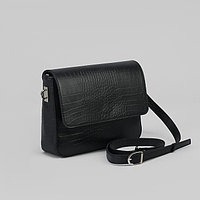 Сумка женская, отдел на молнии, наружный карман, длинный ремень, кайман/шик, цвет чёрный