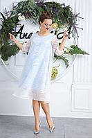 Женское осеннее шифоновое голубое нарядное большого размера платье Anastasia 588 молочно-голубой 50р.