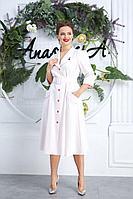 Женское осеннее белое большого размера платье Anastasia 599 молочный 62р.