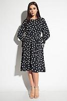 Женское осеннее черное нарядное платье Michel chic 994 черный-горох 48р.