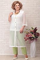 Женский летний хлопковый большого размера брючный комплект Aira Style 800 зелень 58р.