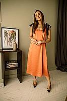 Женское осеннее оранжевое нарядное платье PUR PUR 839/3 42р.